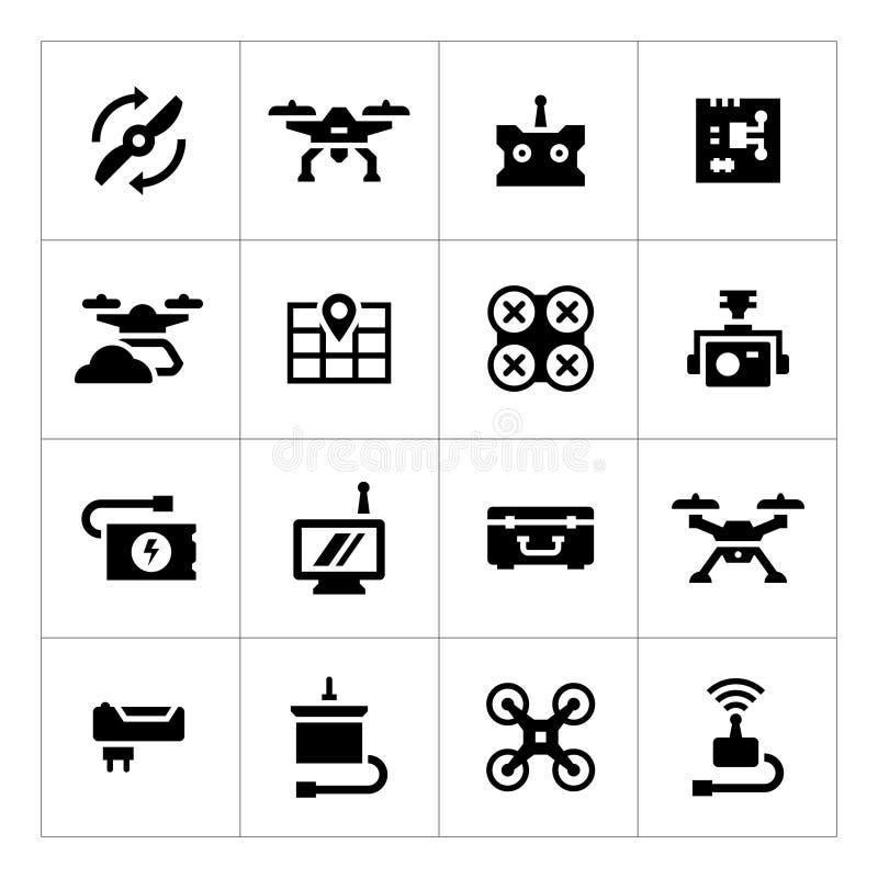 Ajuste ícones do quadrocopter, do hexacopter, do multicopter e do zangão ilustração stock