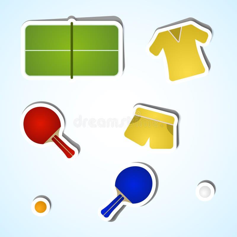 Ajuste ícones do tênis de mesa imagens de stock royalty free