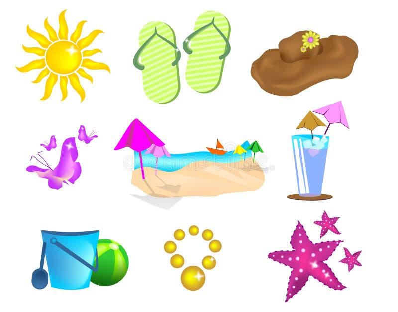 Ajuste ícones do verão ilustração stock