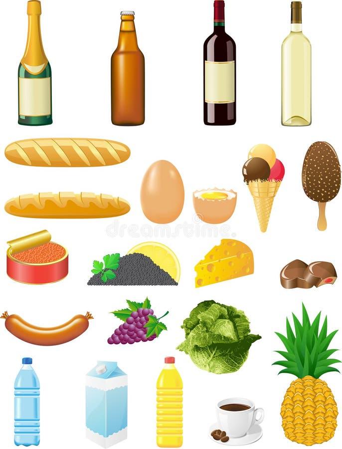 Ajuste ícones dos alimentos ilustração do vetor