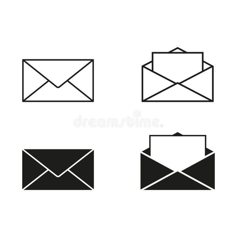 Ajuste ícones dos envelopes ilustração do vetor