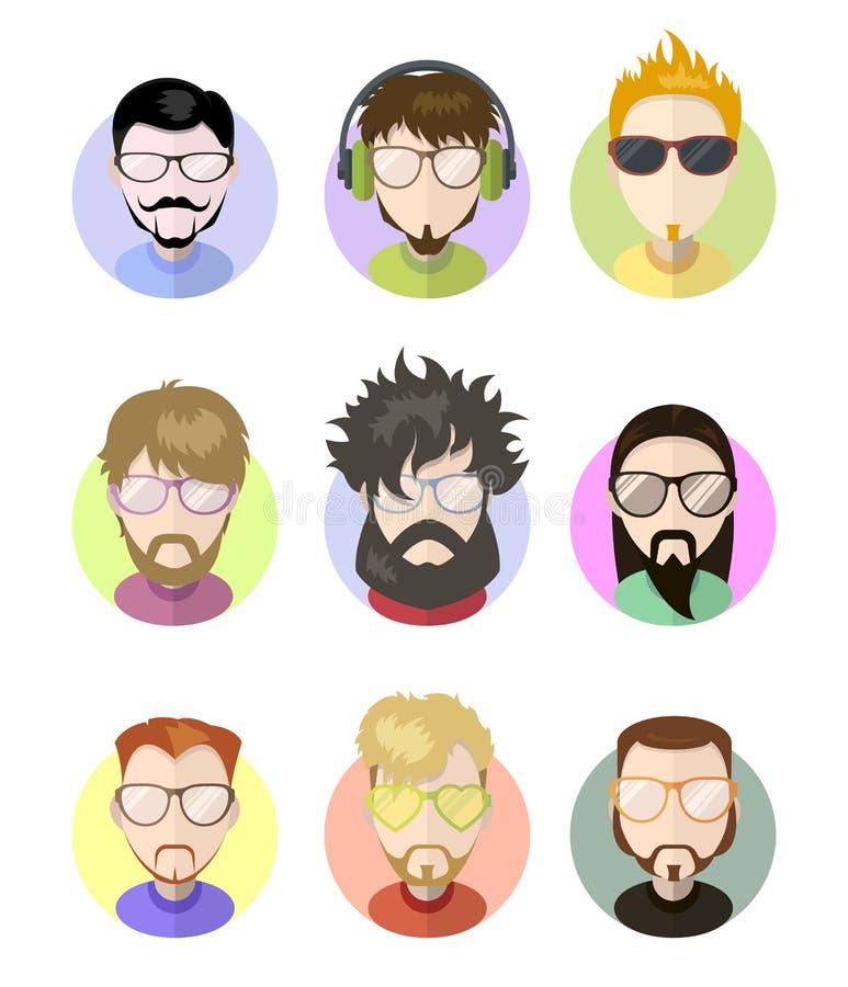 Ajuste ícones lisos do perfil dos avatars, caráteres diferentes Barbas na moda, vidros ilustração do vetor
