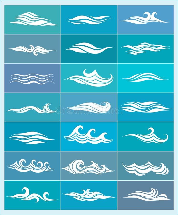 Ajuste ícones, ondas estilizadas ilustração stock
