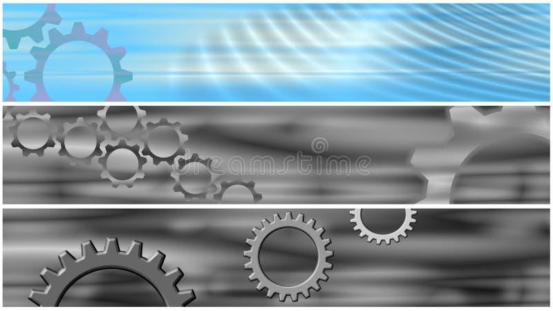 Ajuste 3 bandeiras de encabeçamento das rodas denteadas ilustração royalty free