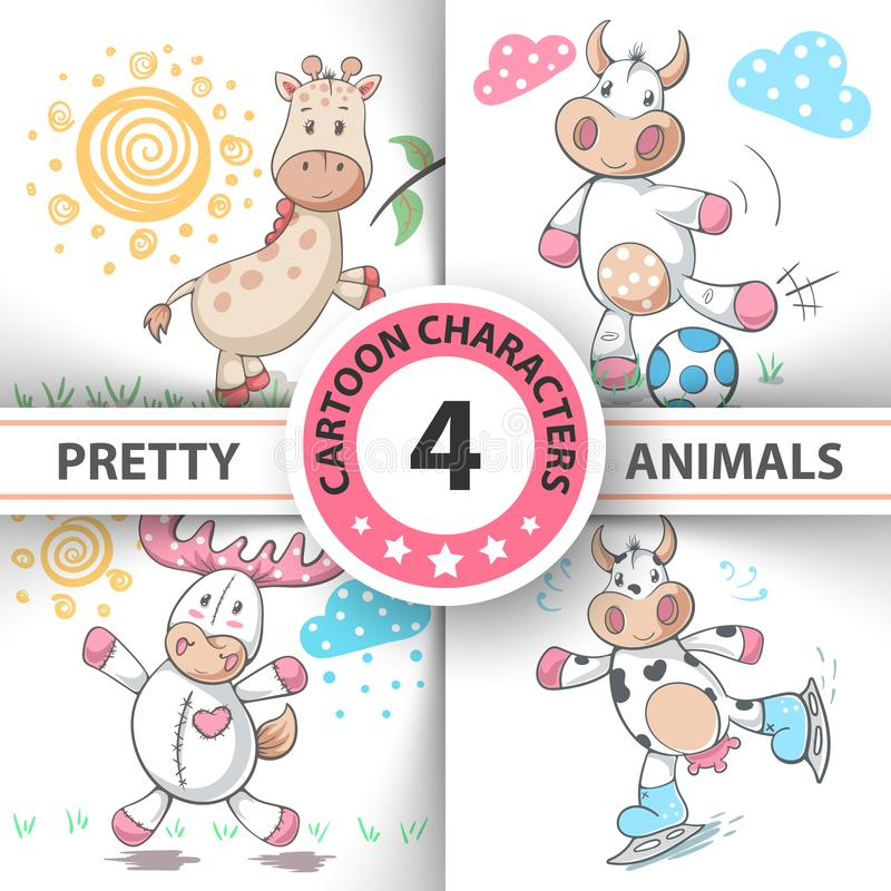 Ajuste animais vaca dos desenhos animados, cervo, touro, girafa ilustração royalty free