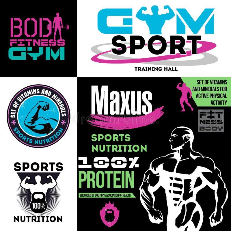 Ajuste a aptidão e ostente o logotipo e o emblema da nutrição ilustração stock