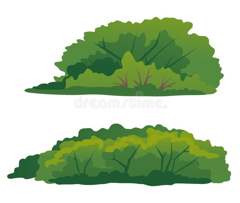 Ajuste arbustos verdes da ilustração isolada ilustração stock