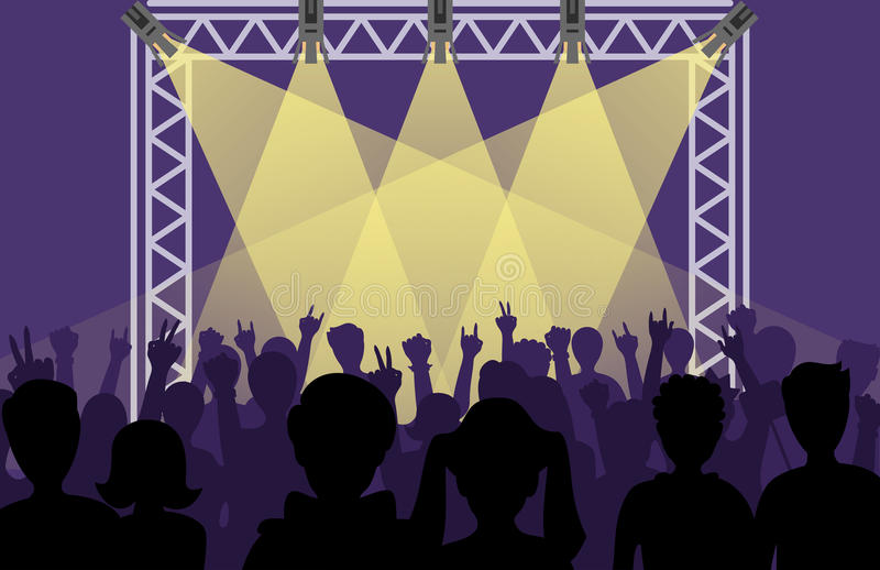 Ajuste artistas do grupo do PNF na noite da fase da música da cena e a multidão nova da faixa do metall da rocha na frente da fas ilustração royalty free
