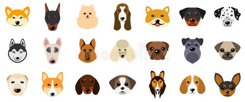 Ajuste as cabeças dos cães, raças diferentes da coleção dos caninos, isoladas no fundo branco ilustração royalty free