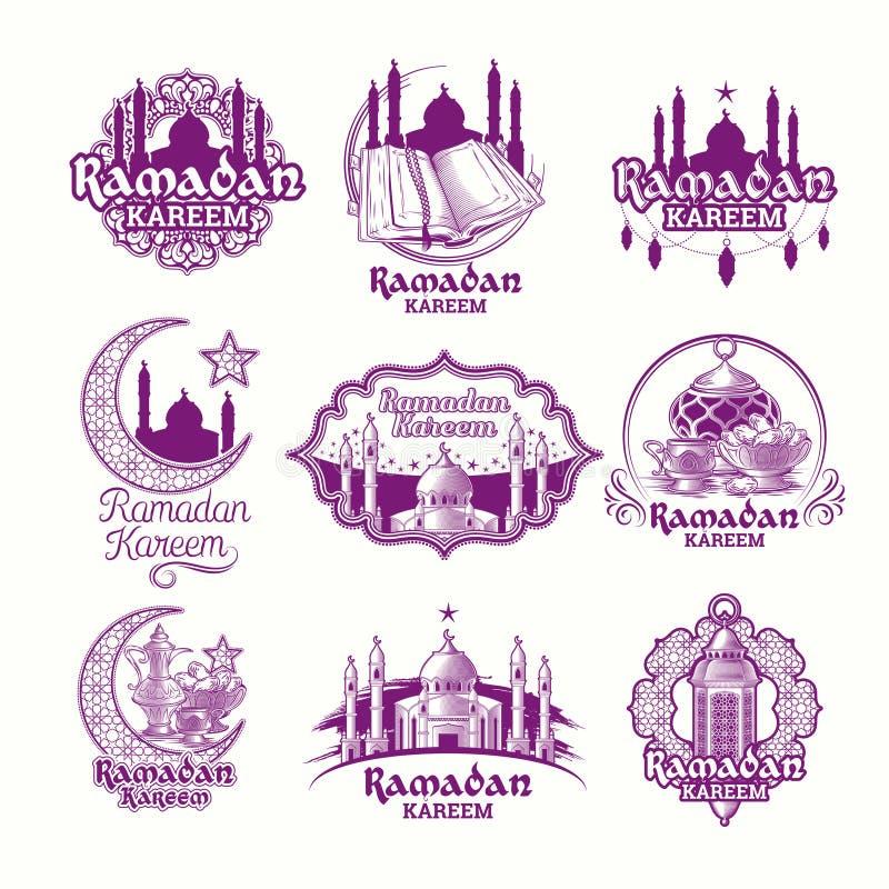 Ajuste as ilustrações roxas do vetor, sinal para Ramadan Kareem com lanterna, torres da mesquita, crescente ilustração royalty free