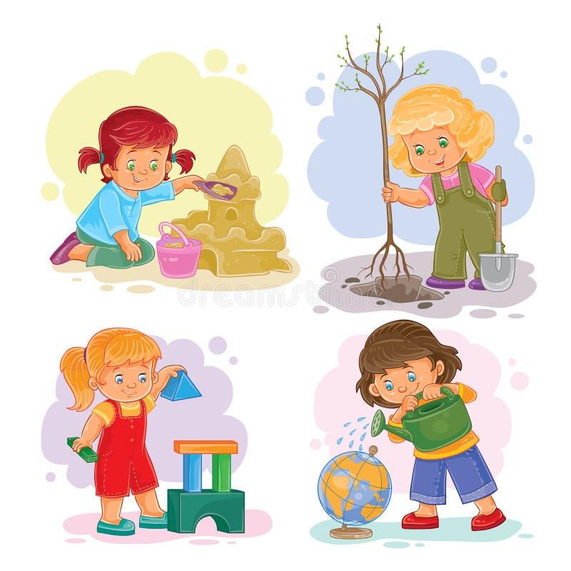 Ajuste as meninas pequenas dos ícones que jogam com brinquedos ilustração royalty free
