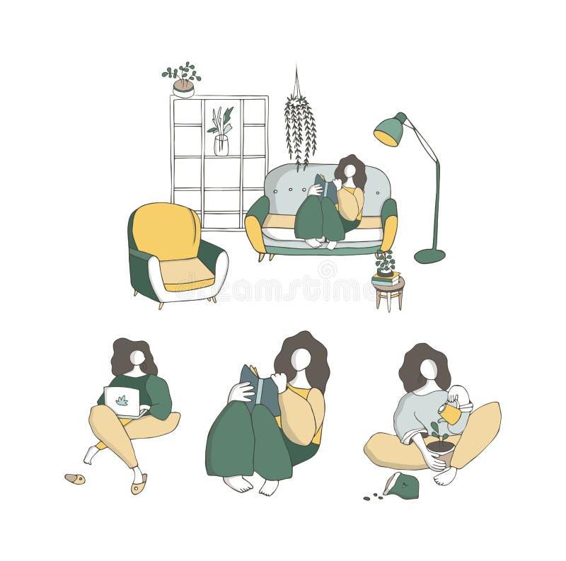 Ajuste as meninas que sentam-se de pernas cruzadas em seu sala ou apartamento, praticando a ioga A jovem mulher com pés cruzados, ilustração royalty free