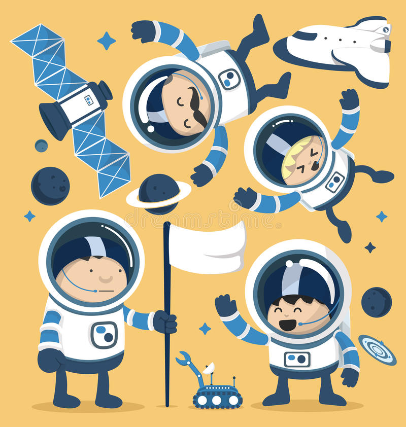 Ajuste astronautas do caráter no espaço e Rocket Ships Robots, planeta ilustração do vetor