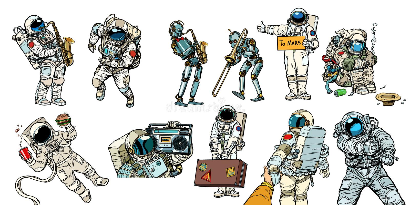 Ajuste astronautas e robôs da coleção ilustração do vetor