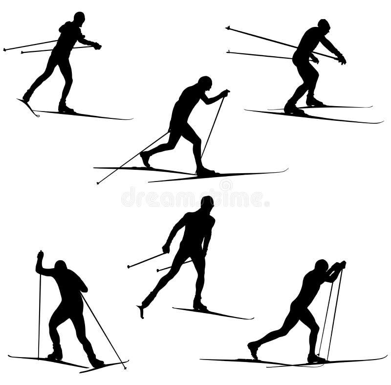 Ajuste atletas do esqui ilustração do vetor