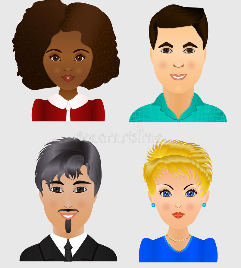 Ajuste avatars dos povos Faces adultas novas