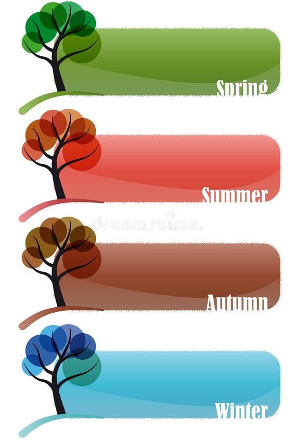 Ajuste a bandeira da estação da árvore ilustração do vetor