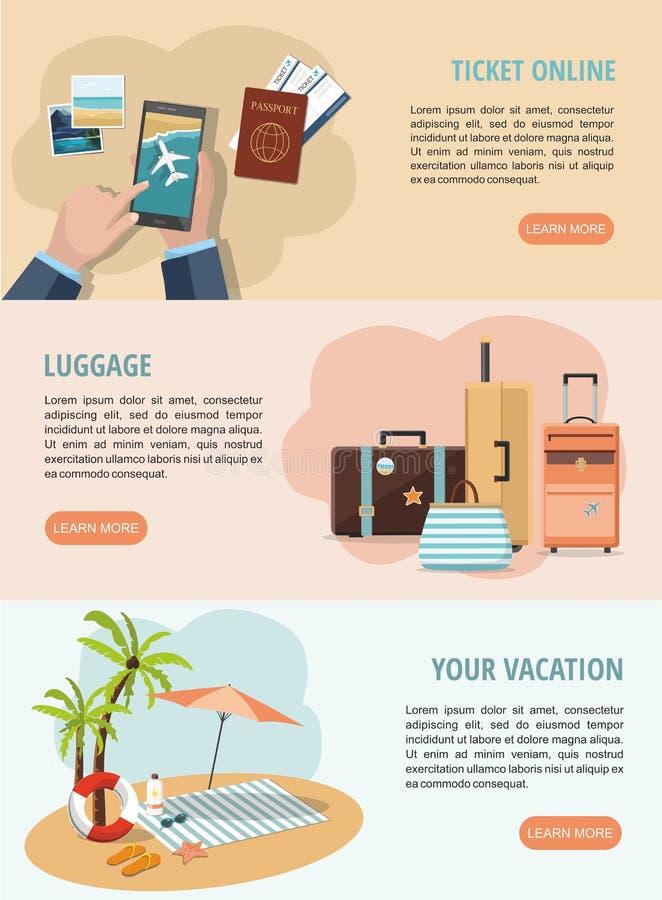 Ajuste bandeiras da Web das férias e do curso Malas de viagem do curso, bilhetes móveis serviço e acessórios da praia ilustração royalty free