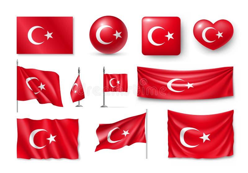 Ajuste bandeiras de Turquia, bandeiras, bandeiras, símbolos, ícone liso ilustração royalty free