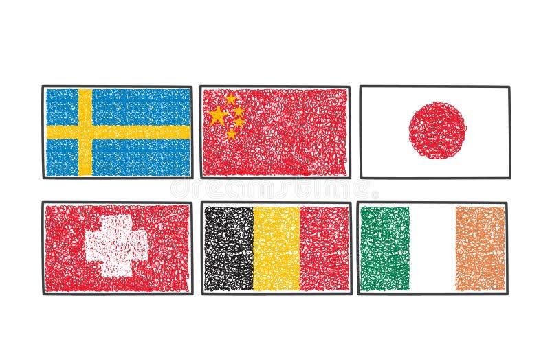 Ajuste bandeiras do ícone do mundo no estilo do garrancho dos desenhos animados ilustração royalty free