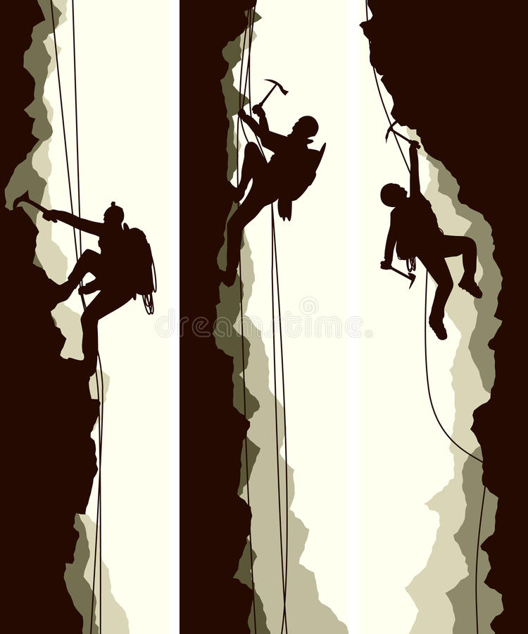 Ajuste bandeiras dos alpinistas ilustração stock