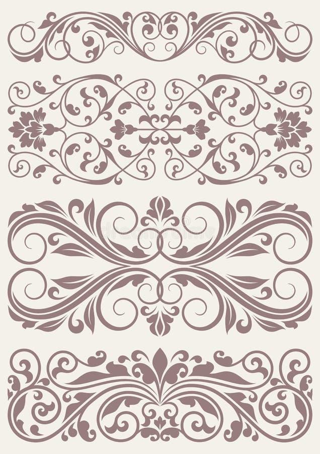 Ajuste beiras ornamentado do vintage ilustração stock