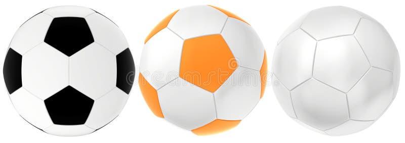 Ajuste bolas do futebol isoladas no fundo branco rendição 3d ilustração stock