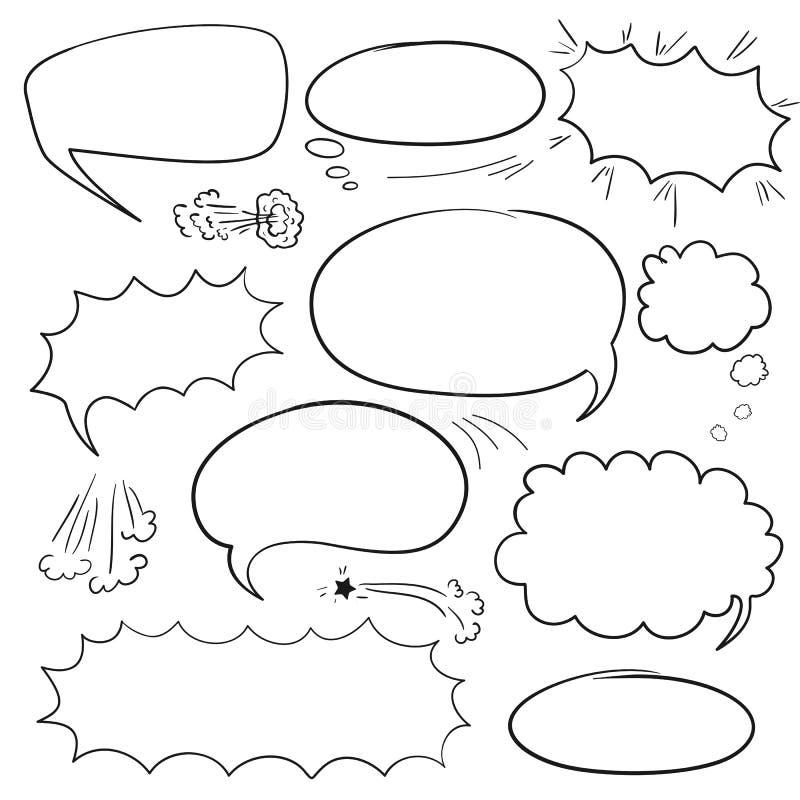Ajuste bolhas da banda desenhada ilustração royalty free