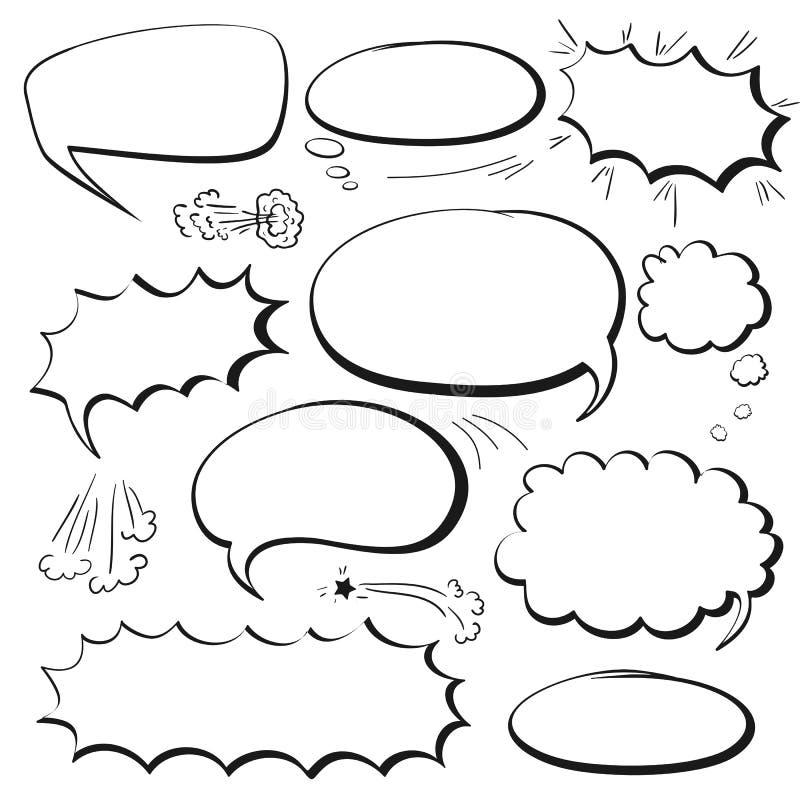 Ajuste bolhas da banda desenhada ilustração stock