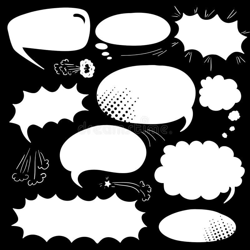 Ajuste bolhas da banda desenhada ilustração do vetor