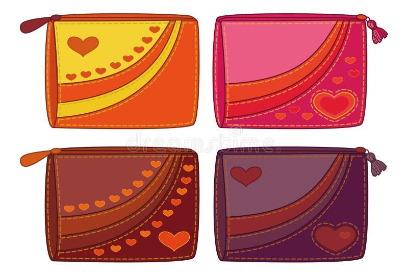 Ajuste bolsas com corações do Valentim ilustração royalty free