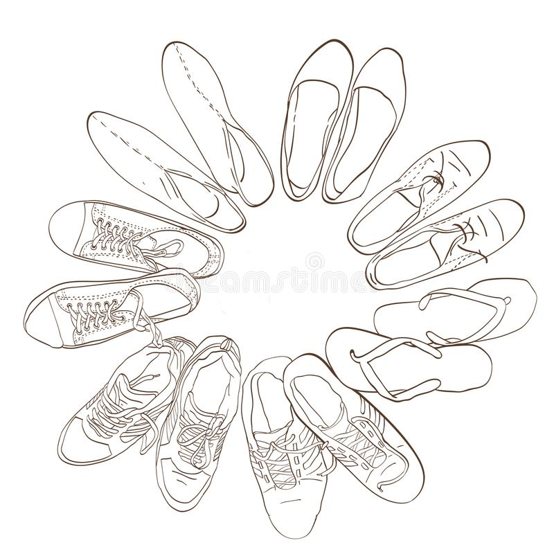 Ajuste calçados gráficos tirados mão dos homens e das mulheres, sapatas ilustração do vetor