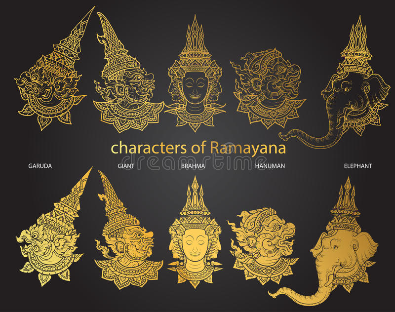 Ajuste caráteres de Ramayana ilustração stock