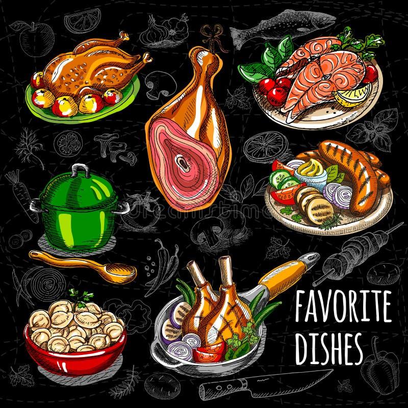 Ajuste a carne do esboço da cor, peixe, pratos laterais ilustração do vetor