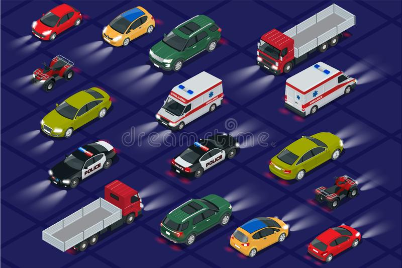 Ajuste carros com opinião isométrica realística das luzes do carro Faróis do carro do automóvel na escuridão Transporte público u ilustração royalty free