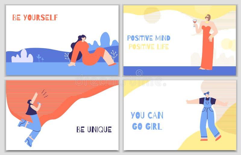 Ajuste cartazes da motivação da mulher com estímulo diário ilustração do vetor