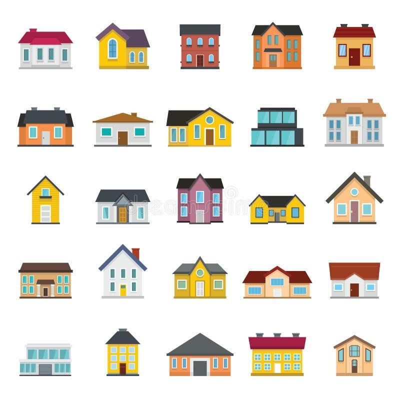 Ajuste casas, construções, e variações da arquitetura no estilo liso ilustração stock