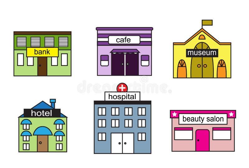 Ajuste casas dos desenhos animados ilustração do vetor