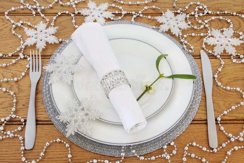 Ajuste chispeante de la tabla de la Navidad fotos de archivo libres de regalías