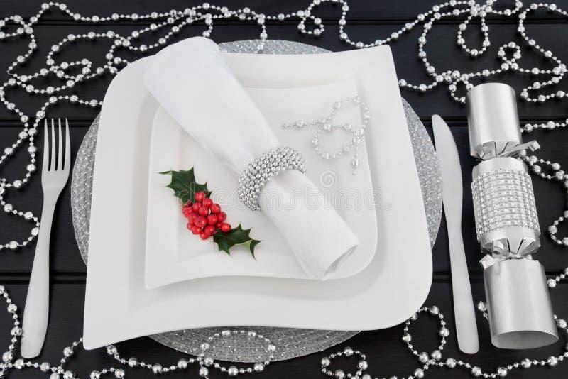 Ajuste chispeante de la tabla de la Navidad fotografía de archivo libre de regalías