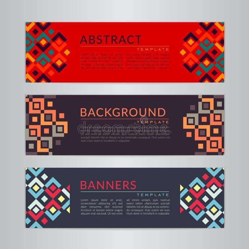 Ajuste a coleção das bandeiras com fundos geométricos abstratos Moldes do projeto para seus projetos ilustração stock