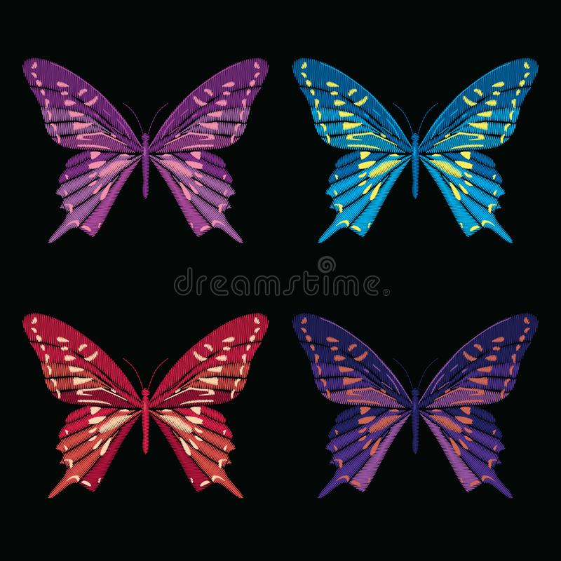 Ajuste a coleção das borboletas isoladas no fundo preto Ilustração do vetor Elementos do bordado para remendos, crachás ilustração do vetor