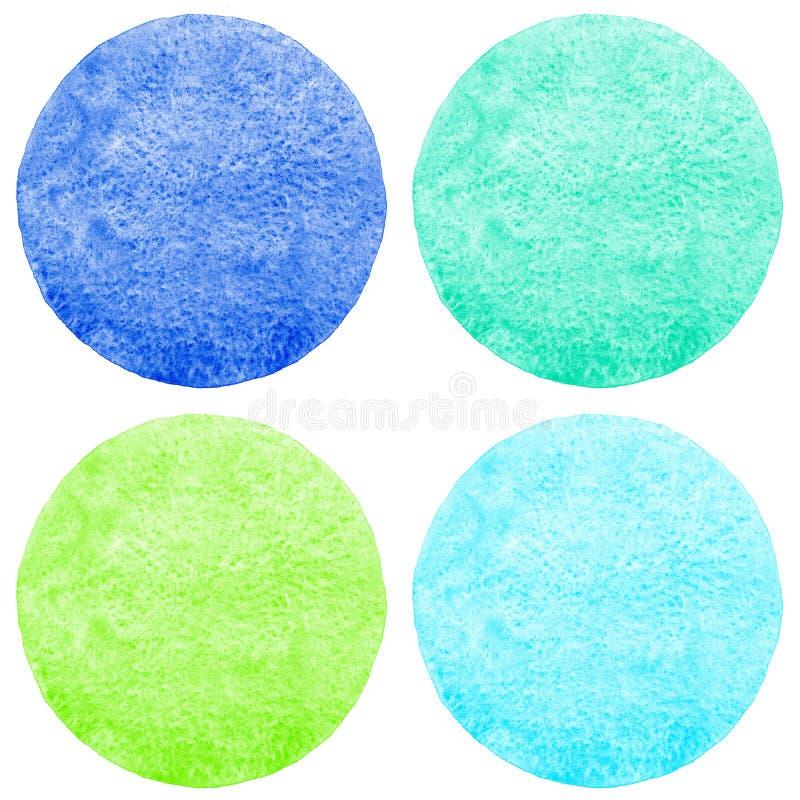 Ajuste, coleção de círculos coloridos da aquarela ilustração stock