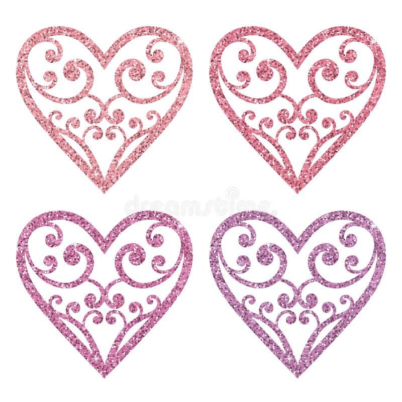 Ajuste a coleção de corações cor-de-rosa decorativos do brilho em um fundo branco ilustração do vetor