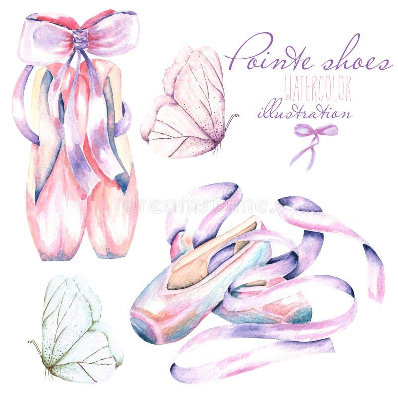 Ajuste, coleção de sapatas do pointe da aquarela e ilustração das borboletas ilustração do vetor