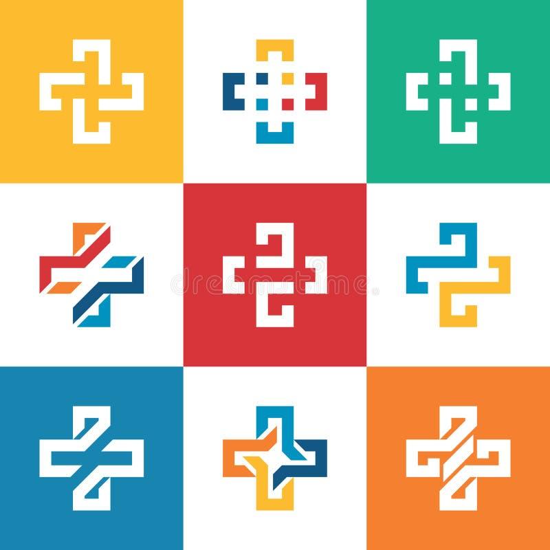 Ajuste a coleção mais o molde do logotipo Hospi médico dos cuidados médicos ilustração do vetor