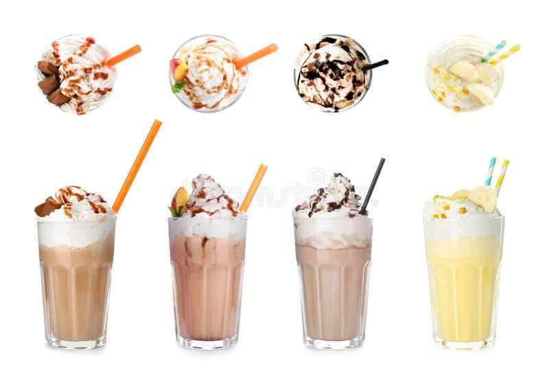 Ajuste com agitações de leite deliciosas diferentes imagens de stock