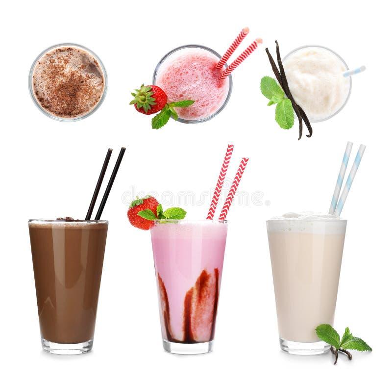 Ajuste com agitações de leite deliciosas diferentes foto de stock