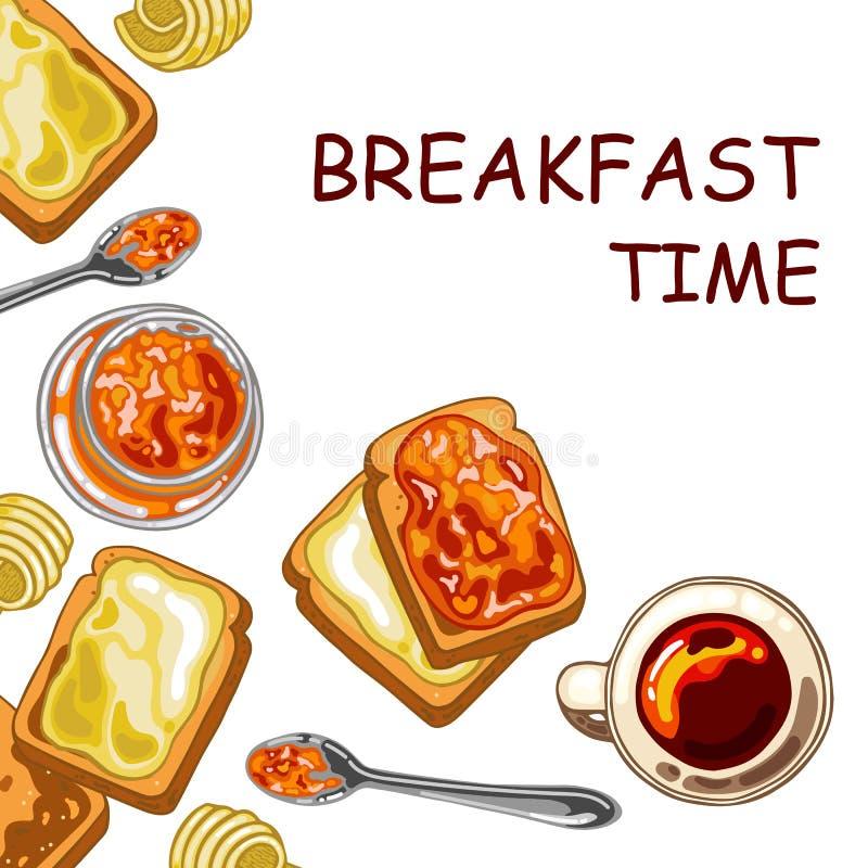 Ajuste com alimento de café da manhã: brinde o pão, o doce e a manteiga ilustração stock