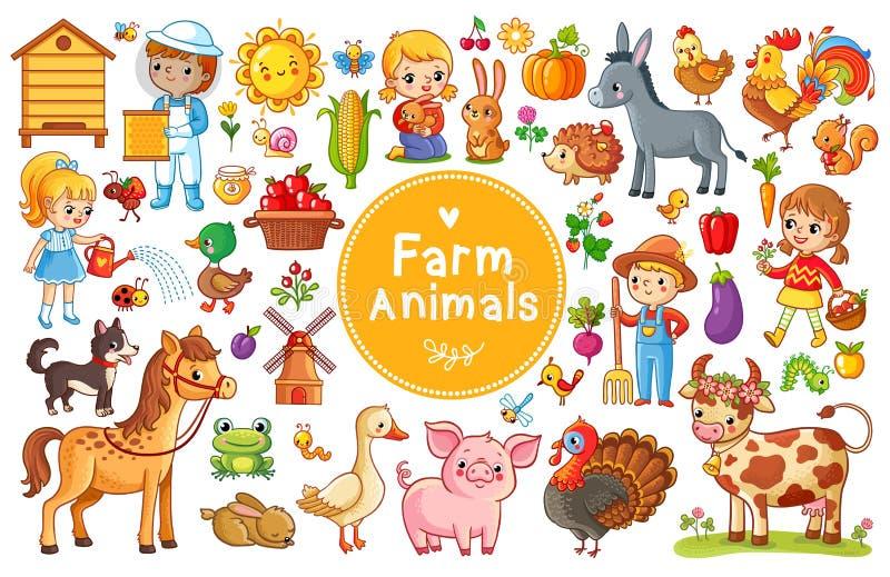 Ajuste com animais de exploração agrícola ilustração royalty free